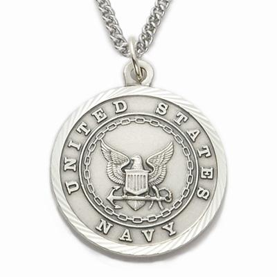 Sterling Silver St. Michael Navy Medallion | US Military Seal Necklace
