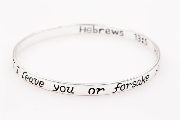 Sterling Silver Scripture Verse Bangle Bracelet | Hebrews 13:5 | Never Will I Leave You or Forsake You