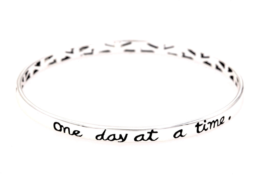 Sterling Silver Inspirational Quote Bangle Bracelet | One Day at a Time