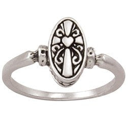 Sterling Silver Ladies Christian Ring Deep Oval