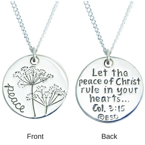 Sterling Silver Scripture Verse Necklace | Peace of Christ | Colossians 3:15