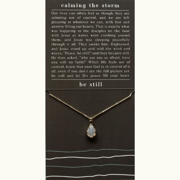 He Calms the Storm Scripture Necklace | Grey Agate