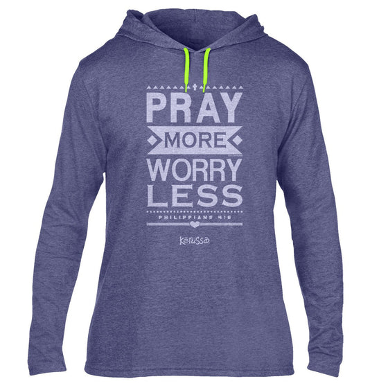 Kerusso Long Sleeve Hooded Christian T-Shirt | Pray More Worry Less