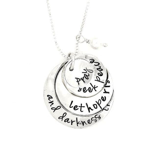 Sterling Silver Hand-Stamped Necklace | Pray - Seek Peace - Let Hope Rise - And Darkness Tremble | Four Stack Charms
