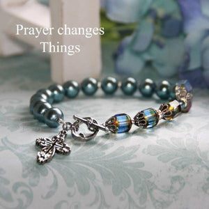 Swarovski Crystal and Pearl Faith-Based Bracelet | Prayer Changes Things