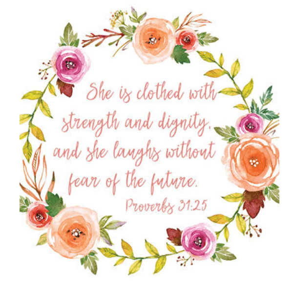 She is Clothed with Strength & Dignity Bible Verse Watercolor Art Print | Proverbs 31:25