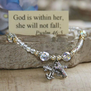 Swarovski Crystal Scripture Verse Bracelet | God is Within Her, She Will Not Fall | Psalm 46:5