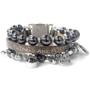 Quadruple Strand Genuine Leather Scripture Verse Bracelets | Metallic Tone with Crystal & Pearl