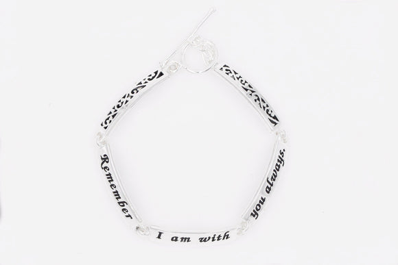 Matthew 28:20 | Sterling Silver Scripture Verse Link Bracelet | Remember I Am With You Always