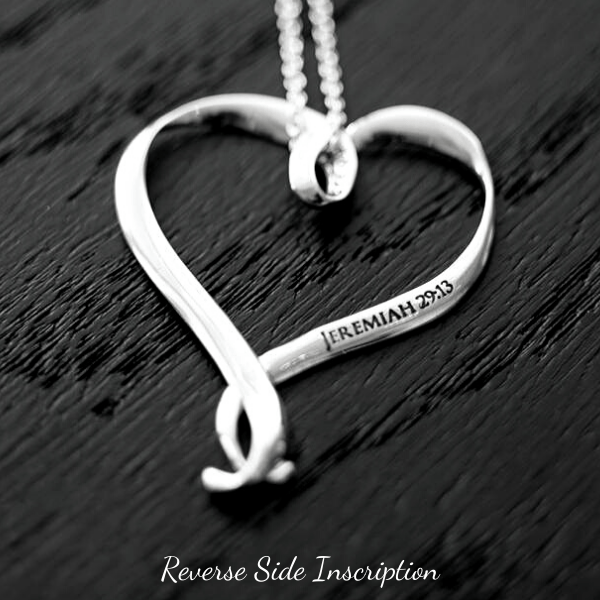 Seek With All Your Heart Sterling Silver Heart Pendant Necklace | Jeremiah 29:13