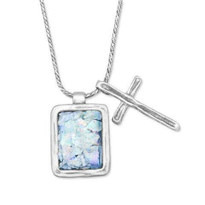 Handcrafted Roman Glass and Sterling Silver Cross Necklace