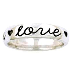 Sterling Silver True Love Waits Ladies Ring - Script with Hearts - Clothed with Truth