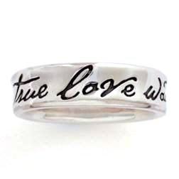 Sterling Silver Ladies True Love Waits Ring - Concave Fancy Script - Clothed with Truth