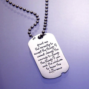 Sterling Silver Serenity Prayer Dog Tag Necklace