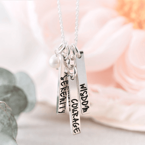 Sterling Silver Serenity Prayer Vertical Bar Necklace | Serenity Courage Wisdom