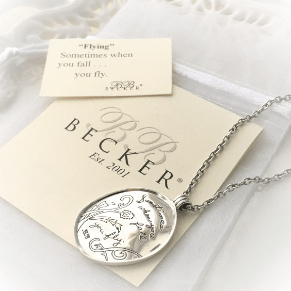 Sometimes When You Fall, You Fly Sterling Silver Necklace | BB Becker