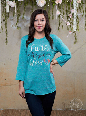 Faith Hope Love Long Sleeve Christian Tee | Southern Grace