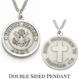 Sterling Silver Philippians 4:13 Army Medallion | US Military Seal Necklace