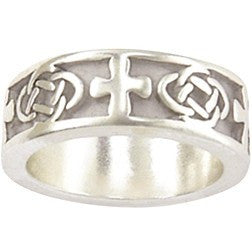 Sterling Silver Cross and Celtic Knot Ladies Ring