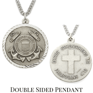 Sterling Silver Philippians 4:13 Coast Guard Medallion | US Military Seal Necklace