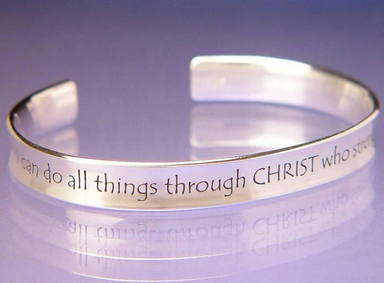 Sterling Silver Scripture Verse Cuff Bracelet | Philippians 4:13 | I Can Do All Things Through Christ