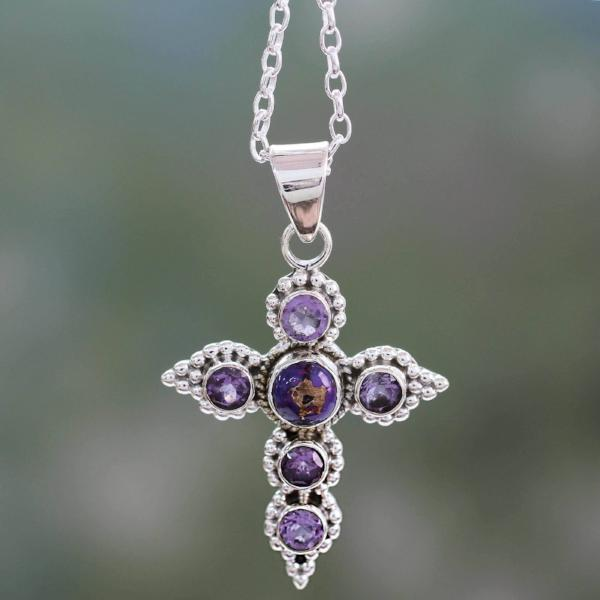 Handcrafted Amethyst and Sterling Silver Cross Necklace