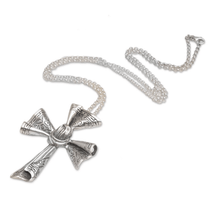 Sterling Silver Songket Cloth Cross Pendant Necklace