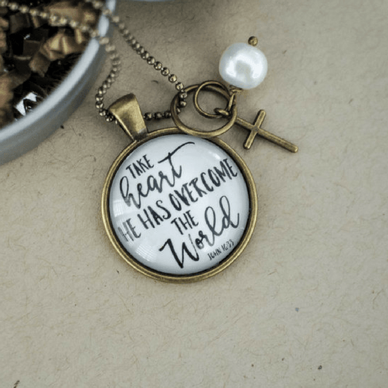 Take Heart He Has Overcome The World Scripture Verse Necklace | John 16:33