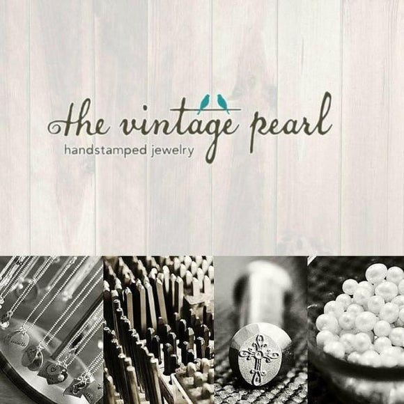 The Vintage Pearl Hand-Stamped Necklace | Blessed Mommy
