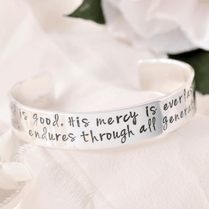 "The Lord is Good Sterling Silver Engraved Scripture Verse Cuff Bracelet | 1/2"" width"