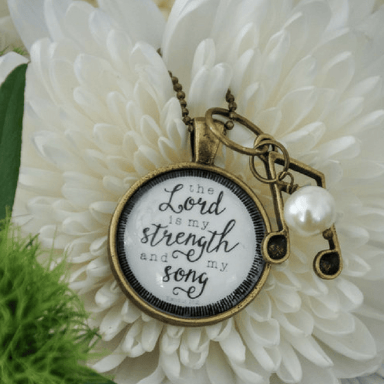 The Lord Is My Strength And My Song Scripture Verse Necklace