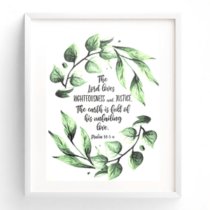 The Earth is Full of His Unfailing Love Bible Verse Watercolor Art Print | Psalm 33:5