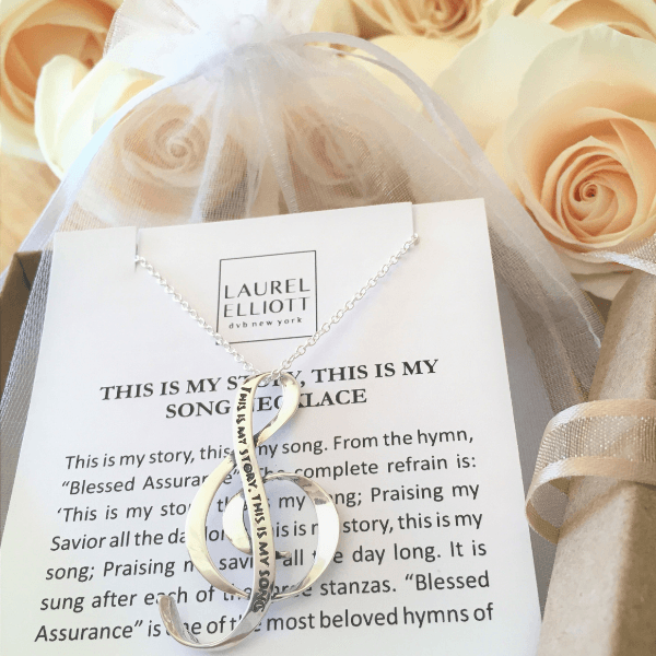 Blessed Assurance Sterling Silver G Clef Necklace