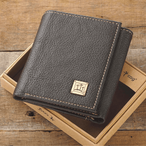 Genuine Leather Men's Rugged Tri-Fold Wallet | Calvary Crosses