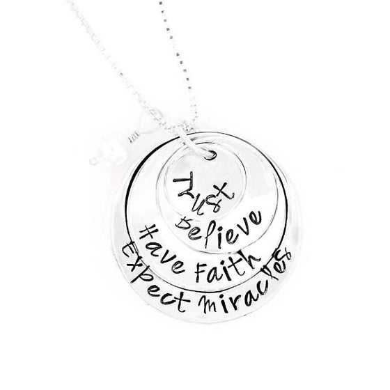 Sterling Silver Hand-Stamped Necklace | Trust - Believe - Have Faith - Expect Miracles | Four Stack Charms