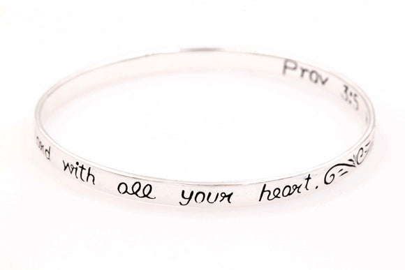 Sterling Silver Scripture Verse Bangle Bracelet | Proverbs 3:5 | Trust in the Lord With All Your Heart