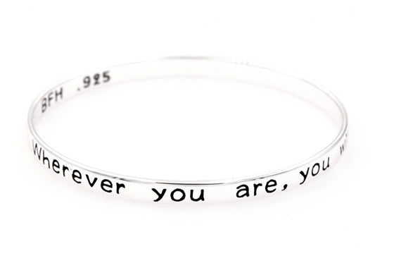 Sterling Silver Bangle Bracelet | Wherever You Are, You Will Always Be in My Heart
