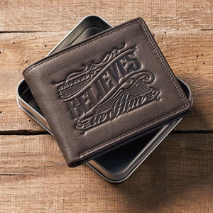 Genuine Leather Men's Wallet | Whoever Believes In Him | John 3:16