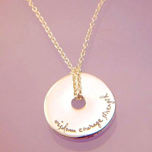 14k Gold Pi Disc Necklace | Wisdom Courage Strength | Serenity Prayer