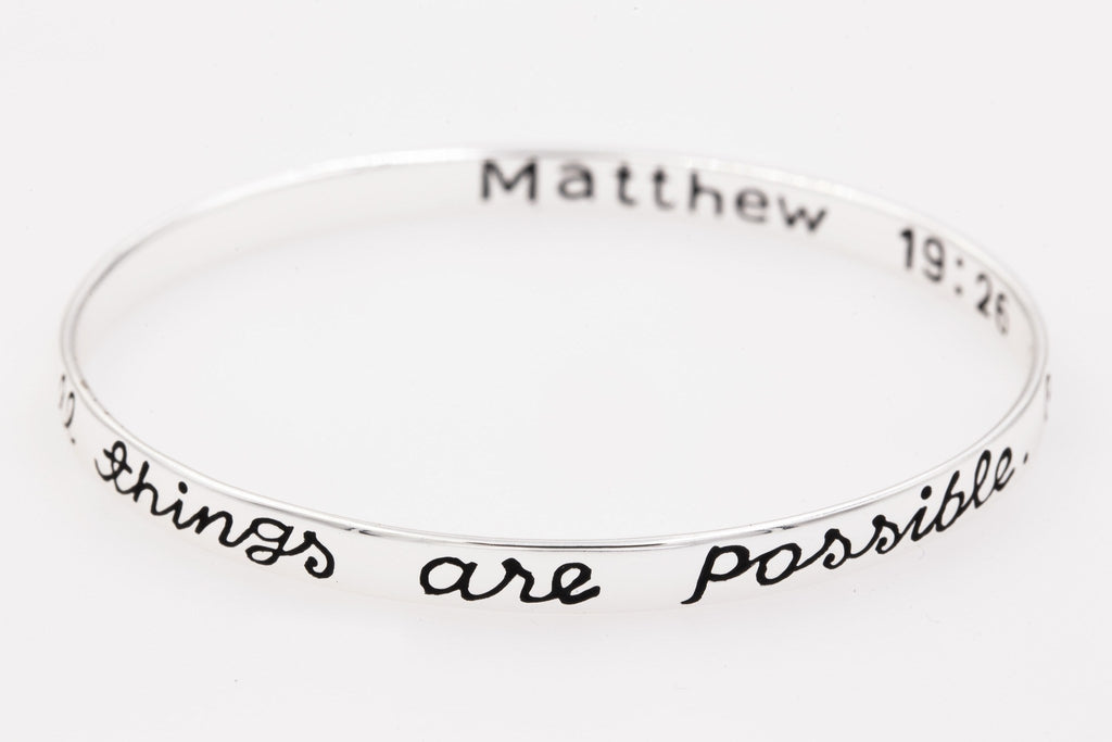 Sterling Silver Scripture Verse Bangle Bracelet | Matthew 19:26 | With God All Things are Possible