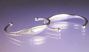 Sterling Silver Child's Scripture Verse Cuff Bracelet | Fearfully and Wonderfully Made | Psalm 139:14