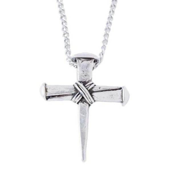 Pewter Cross of Nails Necklace