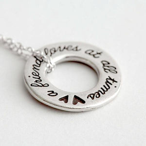 Handcrafted Fine Pewter Scripture Verse Necklace | A Friend Loves at All Times