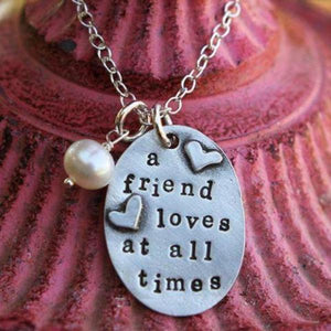 The Vintage Pearl Scripture Verse Necklace | A Friend Loves at All Times