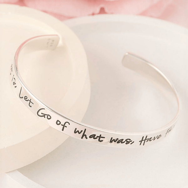 Sterling Silver Engraved Cuff Bracelet | Accept What Is, Let Go of What Was, Have Faith in What Will Be