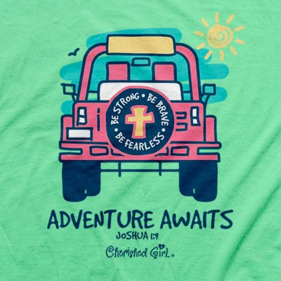 Cherished Girl Christian T-Shirt | Adventure Awaits Jeep | Joshua 1:9