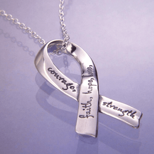 Sterling Silver Affirmation Ribbon Necklace | Faith Hope Love Courage Strength