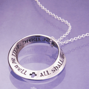 All Shall Be Well Sterling Silver Mobius Twist Necklace | Julian of Norwich Quote