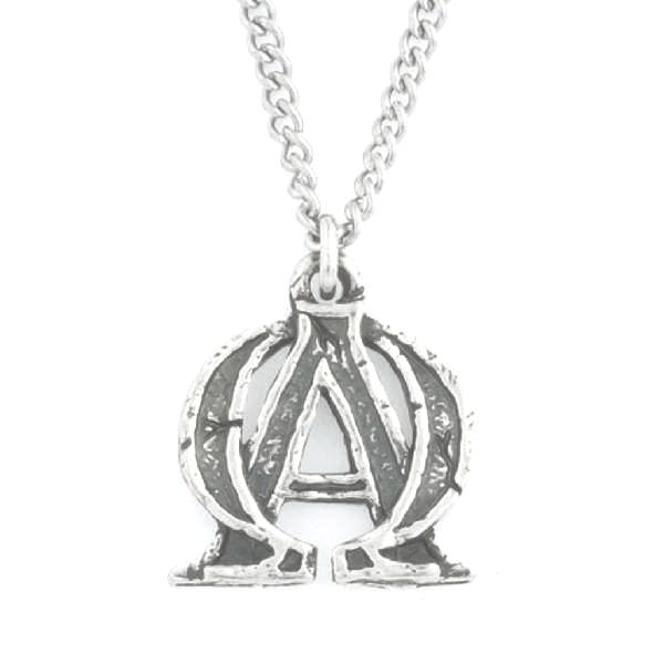 Handcrafted Fine Pewter Alpha & Omega Necklace