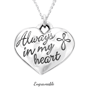 Sterling Silver Always in My Heart Engravable Necklace